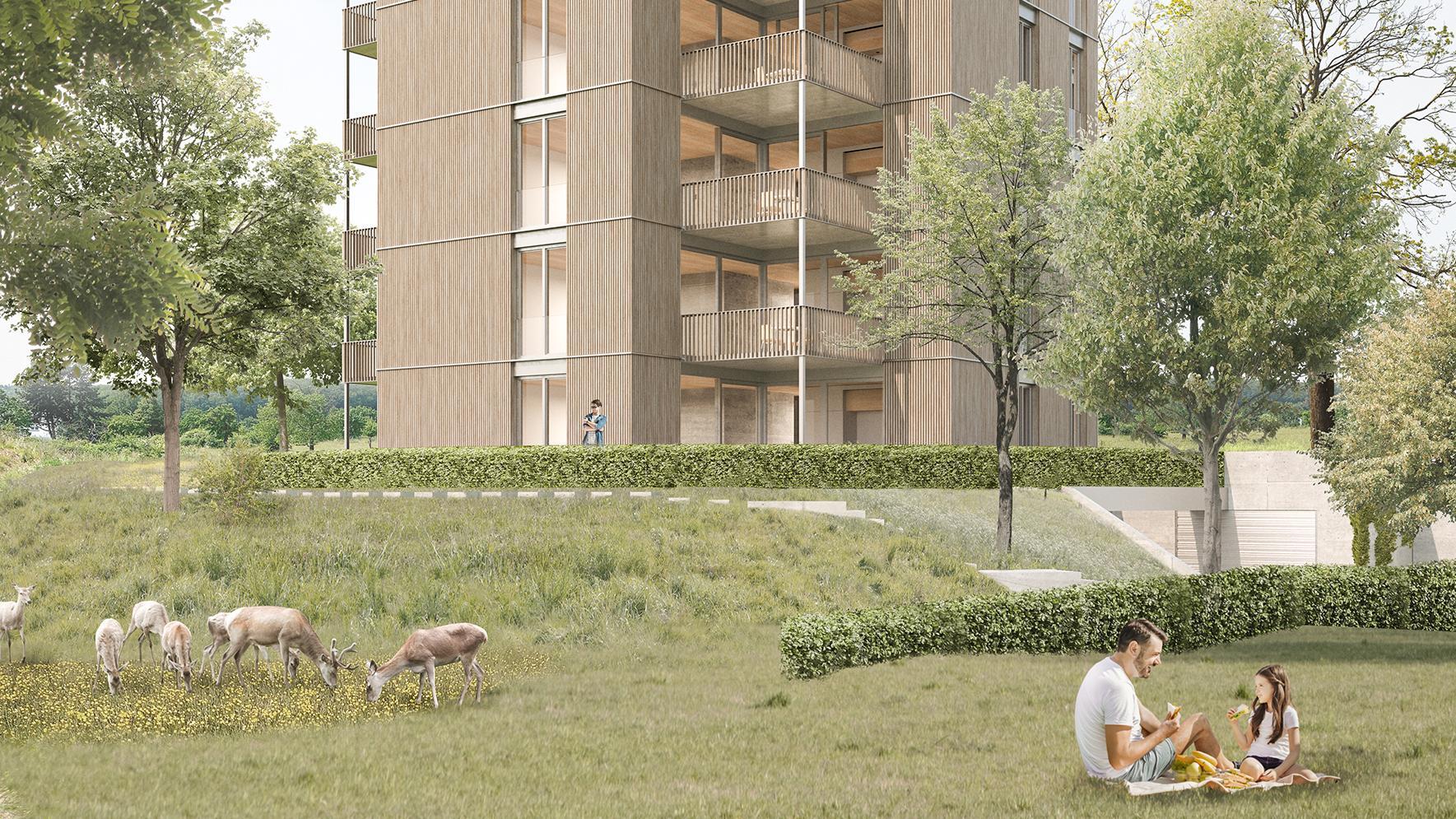 Ein innovativer Holzturm mit 15 Eigentumswohnungen